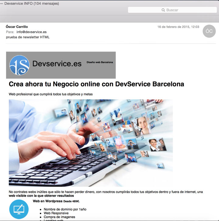 newsletter html recibido