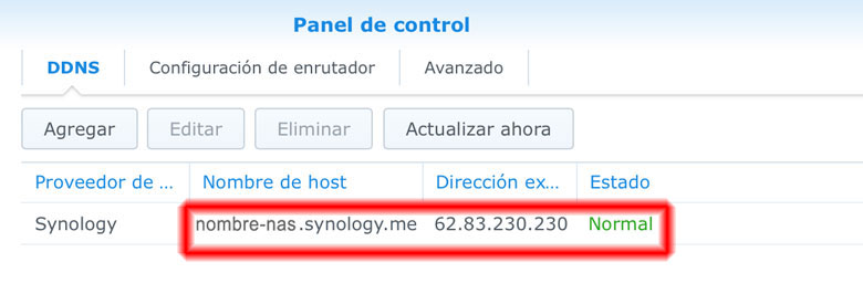 nombre host synology