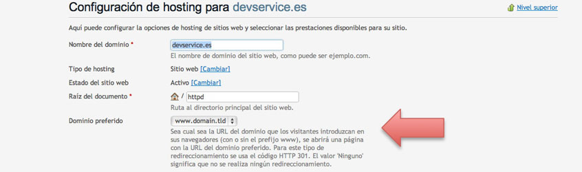 configuración de www dominio