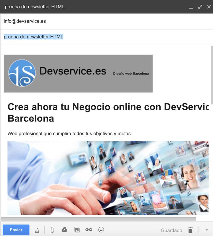 envio newsletter html